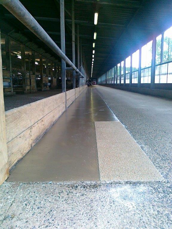 Futtertisch - Glatt-Beschichtung mit Teilbereich Quarzsand-Einstreuung