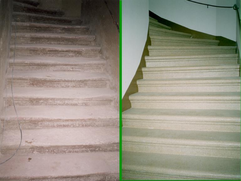 Steintreppe vorher / nachher