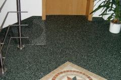 Flur Steinteppich grün mit Muster